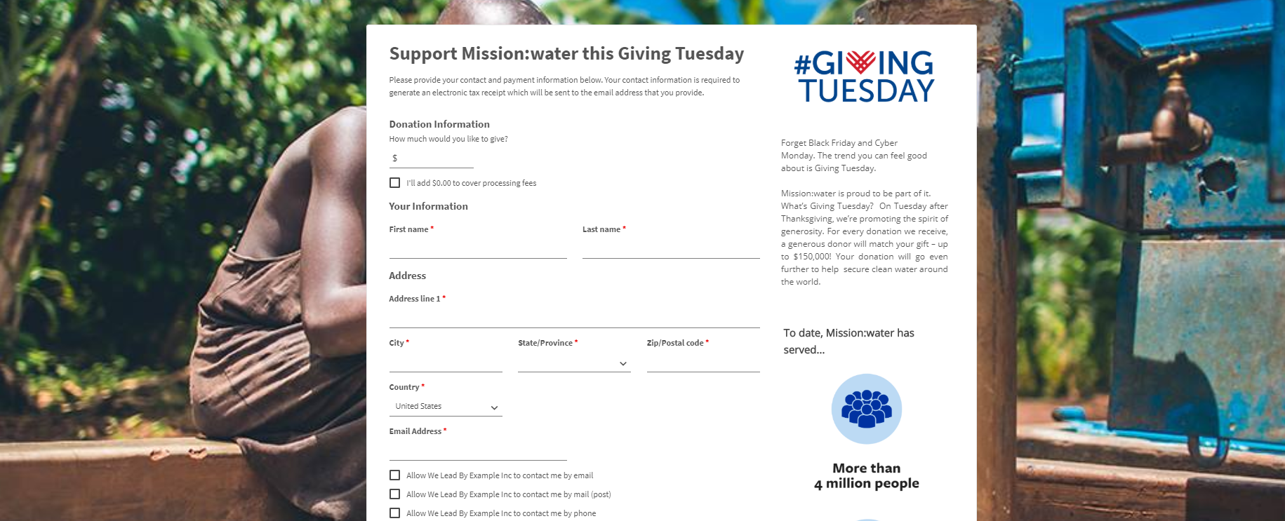 Giving Tuesday page