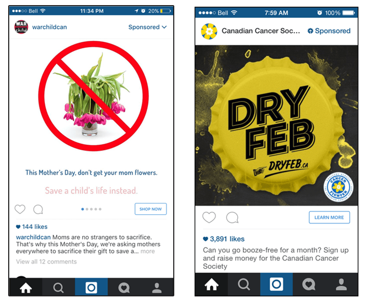 Instagram examples of charity fundraising