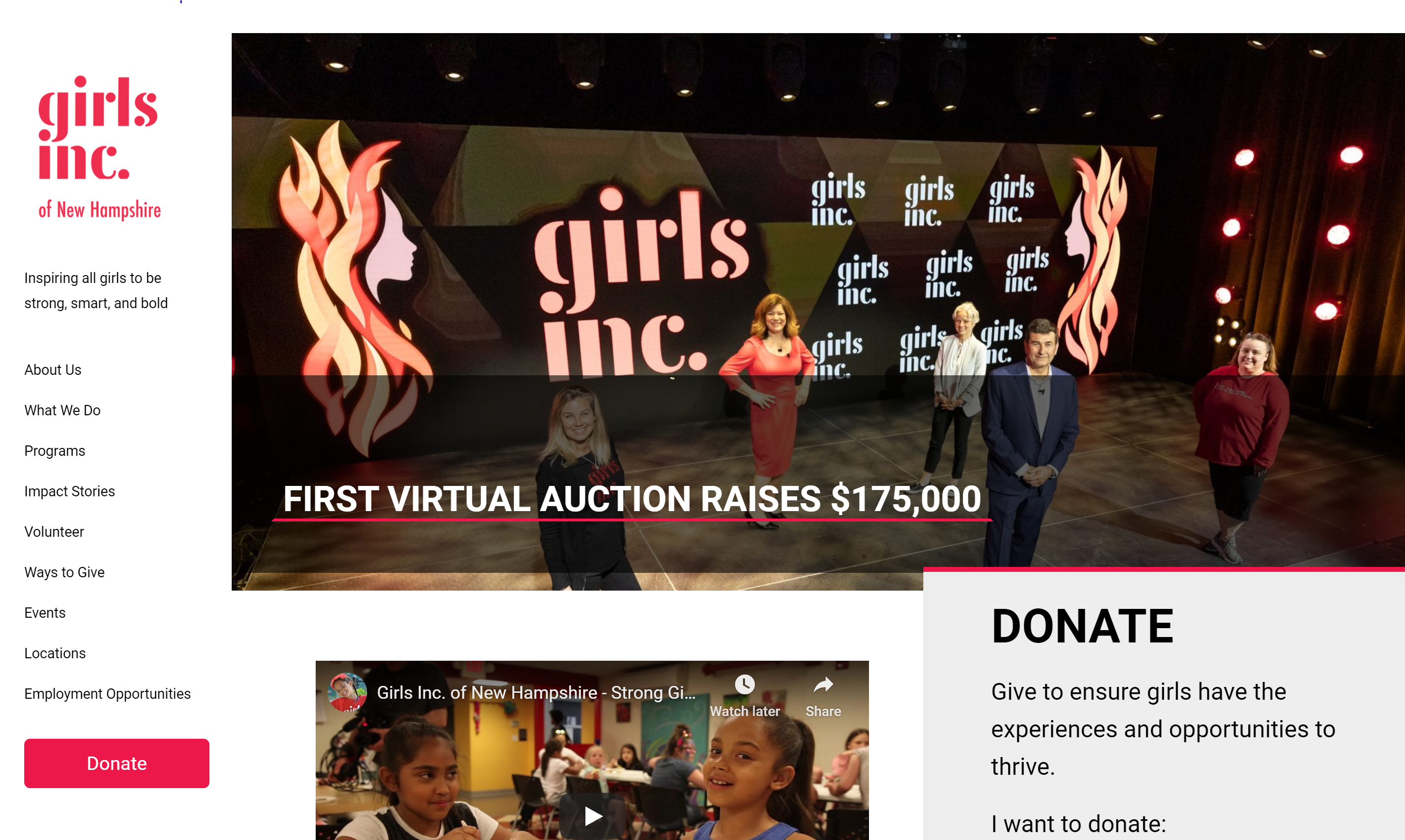 Girls Inc website banner